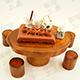 高級原木泡茶桌組(一桌四椅)+中式泡茶組