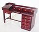美式經典9抽屜書桌--紅木色
