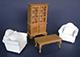 白色沙發書房組---2張單人椅+1茶几+1書櫃
