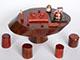 泡茶桌組+紫砂壺泡茶組+水壺+電磁爐+茶巾
